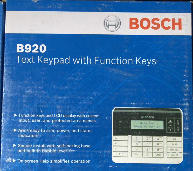 BOSCH B920 TEXT KEYPAD 2-line LCD display W/ up to 32 character Factory Sealed