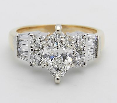 14K White and Yellow Gold 2.02 ct Marquise Diamond Engagement Ring Size 6.25