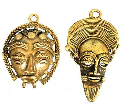Art African - Set of 2 Mask Pasport Pendant Bronze Baoulé - 6,3 & 5,2 CMS