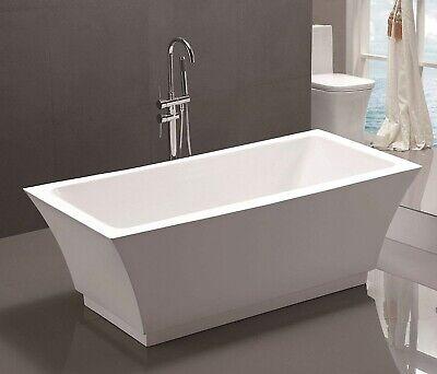 "67"" Freestanding Bathtub White Acrylic Modern Rectangular Soaking Tub"