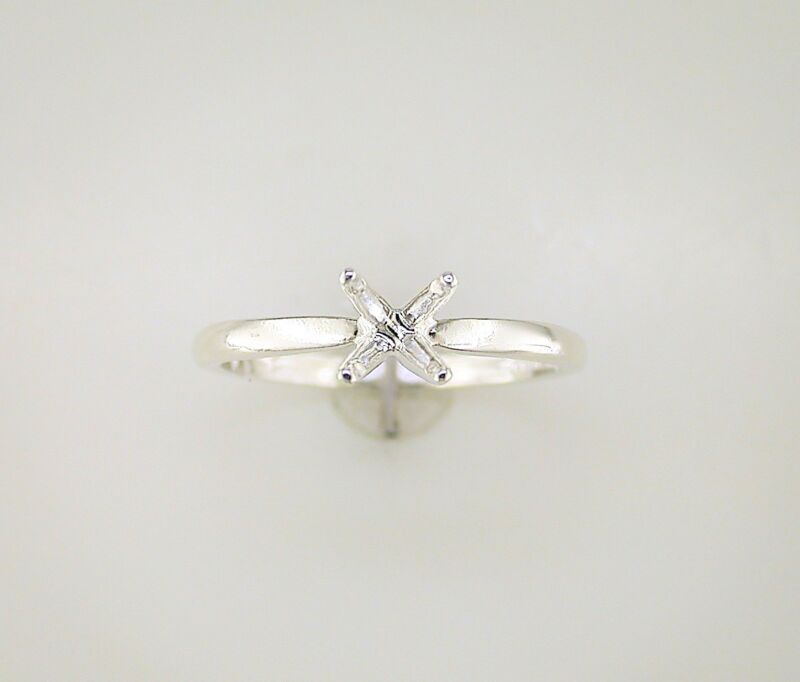 Round Four Prong Deep Vee Solitaire Ring Setting Sterling Silver