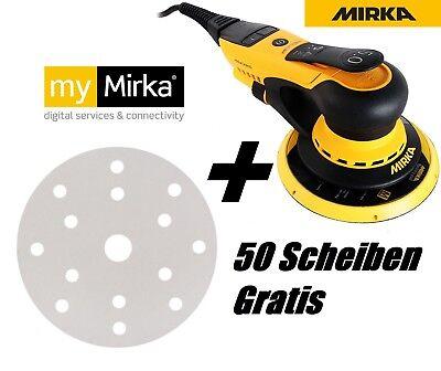 MIRKA DEROS Exzenterschleifer 650CV 150mm 5,0 Hub + 50 Scheiben P120 Gratis