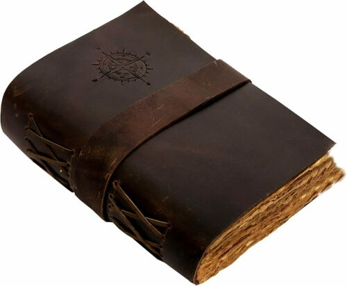 Compass Handmade Leather Bound Writing Journal Lock Diary deckle Edge Notebook