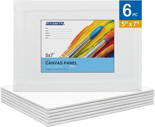 6 Pack Artist Painting Canvas Panel Boards,100% Cotton,Primed Canvases,Acid Free