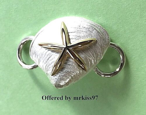 Clam Shell Starfish Clasp Sterling Silver 925 gold center Convertible Bracelet