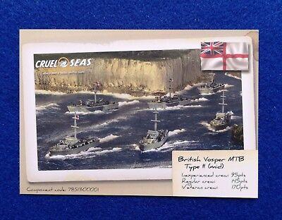 Warlord Games Cruel Seas British Vosper MK II data card - Sea Data Card