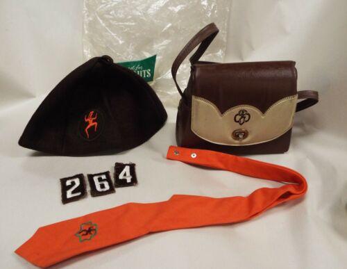 Vintage Girl Scout Brownie Tie Beret Beanie Original Bag Troop Patch Purse Lot