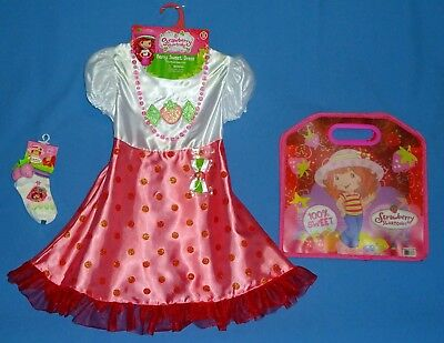 STRAWBERRY SHORTCAKE COSTUME DRESS GIRLS-4-6X-BOW SOCKS NECKLACE BAG-BOOK WEEK - Strawberry Shortcake Girls Costume