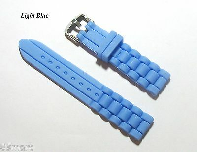Light Blue Rubber Strap - New 20mm Silicone Rubber Watch Band Strap - Light Blue