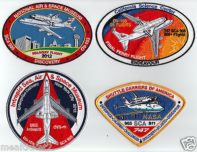 Nasa   Complete Set Of 4 / Final Ferry Flights + Shuttle Carriers Sca Patch