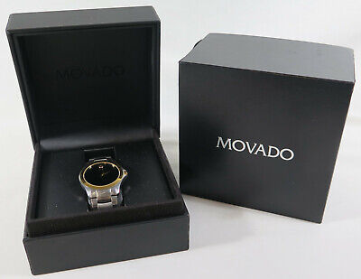 Movado Men's Museum Two Tone Black Dial 81 G2 1855 Wrist Watch W/ Box & Papers
