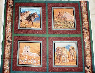 TERRITORIAL TRAIL WALL HANGING WOLF FABRIC PANEL pillows  WILD WINGS FABRIC NEW for sale  Shipping to India