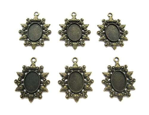 6 Antiqued Bronzetone CLARISSA Style 18mm x 13mm CAMEO PENDANT Earrings Settings