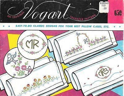 Vogart Transfer Pattern # 650 Classic Designs Pillow Cases S
