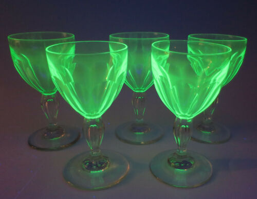 5 Antique Uranium & Clear Cut Glass Teardrop Stem Wine Glasses ABP Vaseline