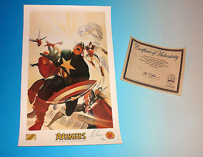 Avengers Commemorative Lithograph Signed by Alex Ross with Certificate Marvel (Alex Ross Marvel Avengers Signed)