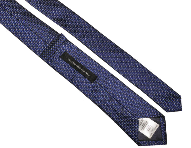 FCUK FRENCH CONNECTION Skinny Retro Mens Blue Black Pattern Silk Tie /> RRP £40