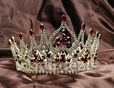 US Queen Bridal Red Crystal Full Crowns Wedding Tiaras Prom Pageant Hair -