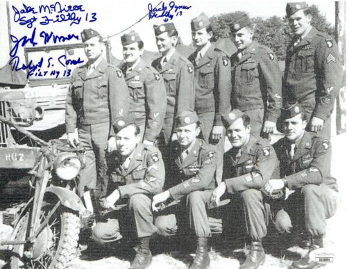 Filthy 13 signed WWII 506th 8.5x11 Photo 4 sigs Jake McNiece,Jack Agnew  - JSA