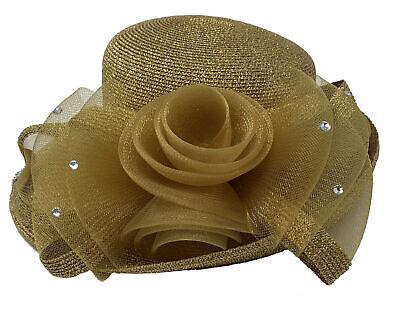 BeautyFaves Church Derby Dress Wide Brim Bridal Hat Glitter Flower Ribbon Bow