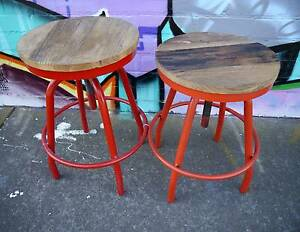 RRP$189 New Rustic Recycled Timber Metal Provincial Turner Stools Melbourne CBD Melbourne City Preview
