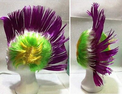 CARNEVALE HALLOWEEN PARRUCCA PUNK CRESTA MULTICOLOR WIG PUNK HAIR TIPO B DC