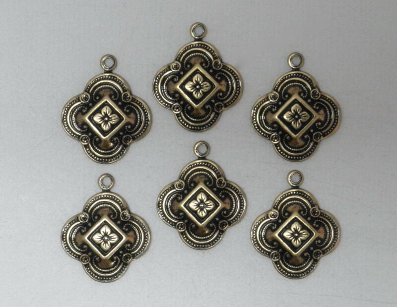 #0216 SMALL ANTIQUED GOLD CELTIC PENDANT/ER DROP W/TOP HANG RING - 6 Pc Lot