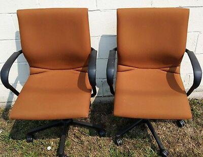 2 Steelcase Ergonomic Modern Swivel Adjustable Sturdy Fabric Office Chairs