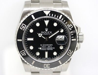 Rolex Submariner Oyster Perpetual Date Black Ceramic Stainless Watch 116610 BOX