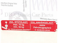 Mercedes  W124 W201 R129 NEU original Aufkleber Zündkerzen Hinweis M103 3.2 AMG