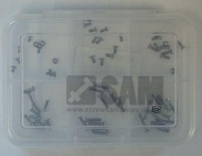 60 Teile Senkkopfschrauben M1,4 Edelstahlschrauben A2 DIN 965 Uhrmacherschrauben