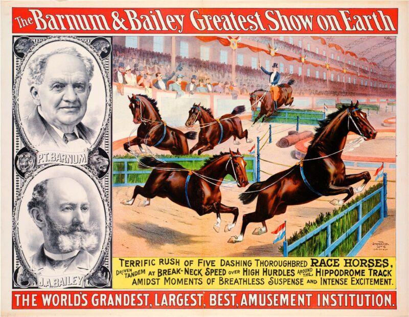1895 Barnum & Bailey Horses Vintage Circus Advertisement Art Poster Print