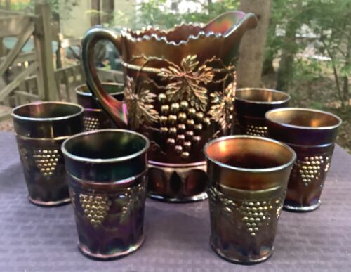 CARNIVAL BEAUTIFUL SIGNED NORTHWOOD  PURPLE GRAPE & CABLE 7 PIECE WATER SET