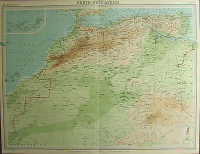 1922 LARGE ANTIQUE MAP ~ NORTH-WEST AFRICA ~ MOROCCO ALGERIA CANARY ISLANDS