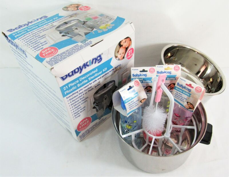 Baby King 21 Piece Decorated Plastic Bottle Sterilizer Kit - Missing 2 Pieces
