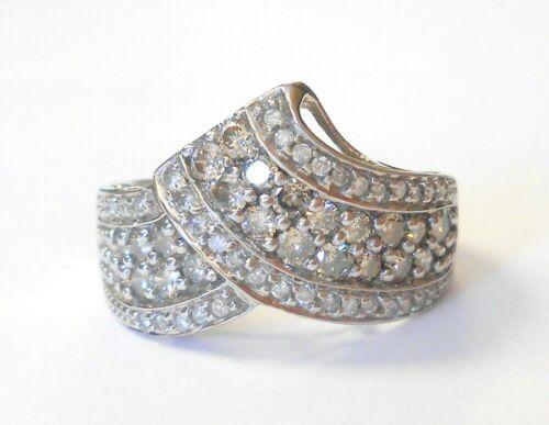 Vintage Diamond Cluster 10K White Gold Wide Band Ring Size 7 Crown Tiara Shape