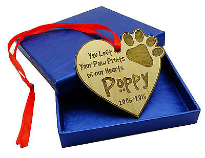 Personalized Pet Dog Memorial Custom Wood Engraved Christmas Tree Ornament Gift