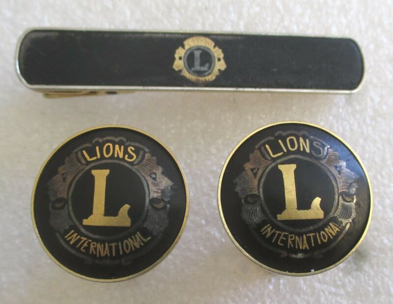 Vintage Lions Club Tie Clip & Cufflinks - Lions International Men