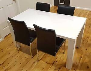 White gloss dining table & 4 black vinyl dining chairs Caringbah Sutherland Area Preview