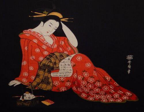 KITAGAWA UTAMARO JAPANESE EMBROIDERY GEISHA GIRL TAPESTRY PAINTINGS SIGNED