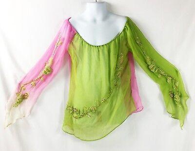 Pink Green Fairy Elf Bead Shirt long sleeve Bell 100% Silk Top Shirt Costume XS](Top 100 Costumes)