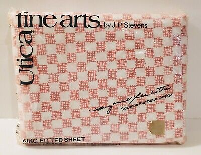 Vtg Utica Stevens Suzanne Pleshette Pink Check Country Lace King Fitted Sheet Pink King Fitted Sheet