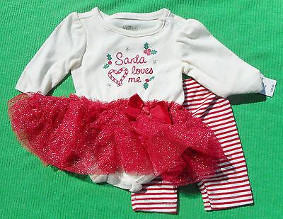 WEIHNACHTEN 🎅 Baby Mädchen Anzug 🎅 KLEID 2tlg 🎅 SANTA LOVES ME 🎅 mit TUTU Santa Baby Kleid