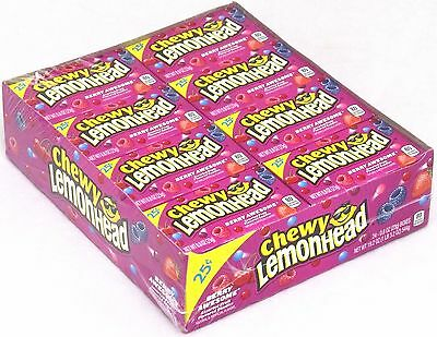 Chewy Lemonhead Berry Awesome Candy 24 Count Packs Bulk Candies Lemonheads Lemon