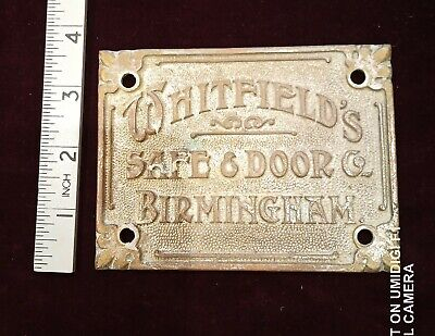 Vintage Safe Plate 12cm x 9cm Whitfield's Safe Co.Cast brass, was silvered.