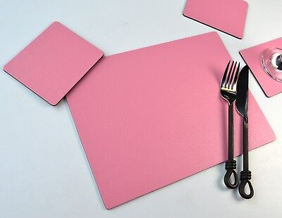 Set 6 PERFECT PINK Bonded Leather PLACEMATS & 6 COASTERS Table Mats MADE IN UK