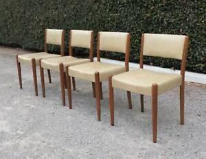 4 x Retro Teak Dining Chairs, Mid Century Parker Fler era