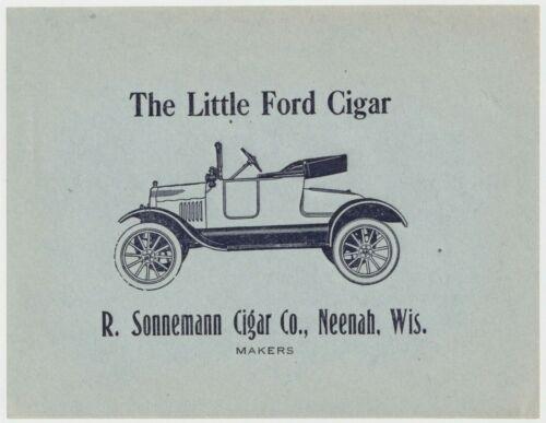 The Little Ford - Cigar Box Label - R. Sonnemann Cigar Co., Neenah, Wis. (b)