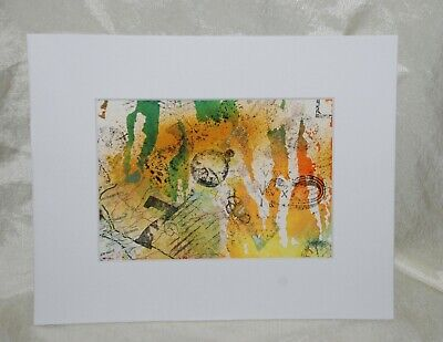 Green Watercolour - 8x10 Original Art Watercolor Ink Stamping Abstract Collage Painting Green Gold