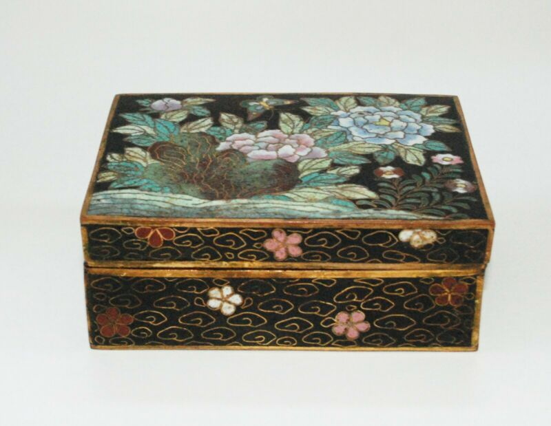 Important Early Japanese Cloisonne Enamel Box Signed by Masatoku